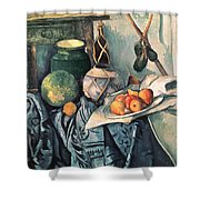 Still Life With Pitcher And Aubergines Oil On Canvas Shower Curtain
