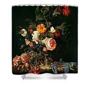Still Life With Poppies And Roses Shower Curtain