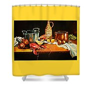 Still Life With Pots Fruit Etc. Shower Curtain