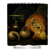 Still Life With Pumpkin And Onions Shower Curtain