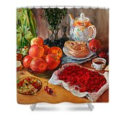 Still Life With Raspberries And Apples Shower Curtain