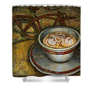 Still Life With Red Cruiser Bike Shower Curtain by Mark Jones
