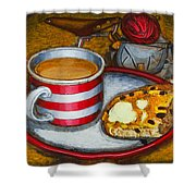 Still Life With Red Touring Bike Shower Curtain by Mark Howard Jones