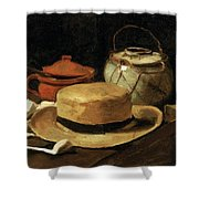 Still Life With Straw Hat Shower Curtain