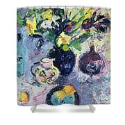 Still Life With Turquoise Bottle Shower Curtain by Sylvia Paul