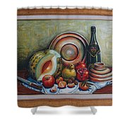 Still Life With Water Melon Shower Curtain