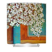 Still Life With White Flowers Shower Curtain
