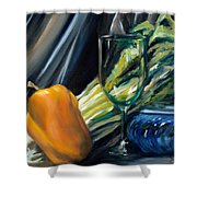 Still Life With Yellow Pepper Bok Choy Glass And Dish Shower Curtain