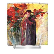 Still Live With Flowers Vase And Black Bottle Shower Curtain