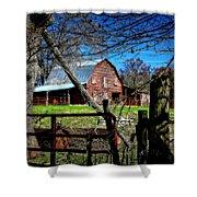 Still Useful Rustic Red Barn Art Oconee County Shower Curtain
