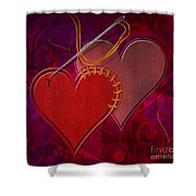 Stitched Hearts Shower Curtain