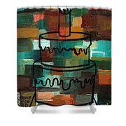Stl250 Birthday Cake Earth Tones Abstract Shower Curtain