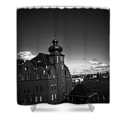 Stockholm In Dark Black And White Shower Curtain