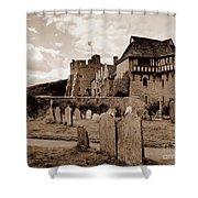 Stokesay Castle Sepia Shower Curtain