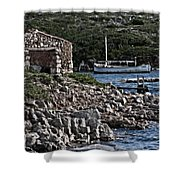 Roman Port Of Sa Nitja In Minorca - Stone And Sea Shower Curtain