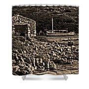 Roman Port Of Sa Nitja In Minorca - Stone And Sea Sephia Version Shower Curtain