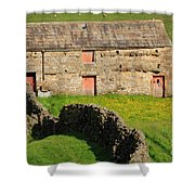 Stone Barn With Red Doors In Swaledale Yorkshire Dales Shower Curtain