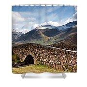 Stone Bridge In Mountain Landscape Shower Curtain