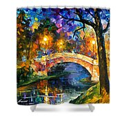 Stone Bridge - Palette Knife Oil Painting On Canvas By Leonid Afremov Shower Curtain