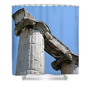 Stone Carved Columns At The Temple Of Aphrodite  Shower Curtain