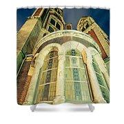 Stone Church Exterior Facade Windows At Night Shower Curtain