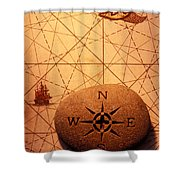 Stone Compass On Old Map Shower Curtain by Garry Gay