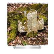 Stone Cross In The Forest Shower Curtain