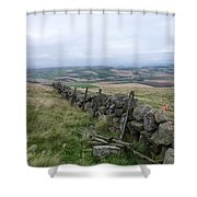 Old Dry Stacked Stone Fence Of Scotland Shower Curtain