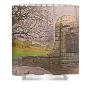 Stone Gate Shower Curtain by Tom Gari Gallery-Three-Photography