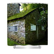 Stone House With Mossy Roof Shower Curtain