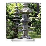 Stone Pagoda And Lantern Shower Curtain