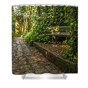 Stone Path Through A Forest Shower Curtain by Jess Kraft