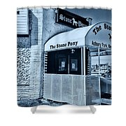 Stone Pony Cool Blue Shower Curtain
