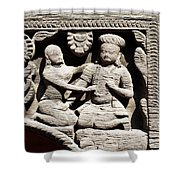 Stone Relief In Patan's Durbar Square Shower Curtain