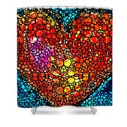 Stone Rock'd Heart - Colorful Love From Sharon Cummings Shower Curtain