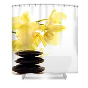 Stones And Orchid Shower Curtain