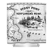 Stony Point Map, 1779 Shower Curtain by Granger