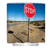 Stop Sign On Indian Ranch Road In Death Valley Shower Curtain