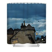 Storm Above Town Shower Curtain