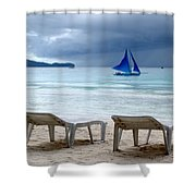 Stormy Beach - Boracay, Philippines Shower Curtain