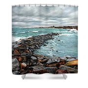 Storm In Rockport Harbor Shower Curtain