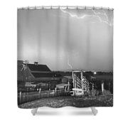Storm On The Farm In Black And White Shower Curtain