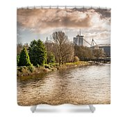 Storm Over The Taf Shower Curtain