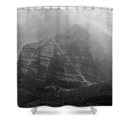 1m3556-bw-storm Raging Over Mt. Temple Shower Curtain
