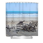 Storm Ravaged Fence  Shower Curtain