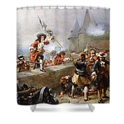 Storming The Battlements Shower Curtain