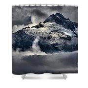 Storms Over Jagged Peaks Shower Curtain