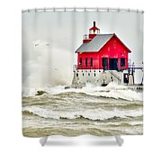 Stormy At Grand Haven Light Shower Curtain