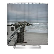 Stormy Beach Forcast Shower Curtain