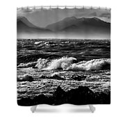 Stormy Coast New Zealand In Black And White Shower Curtain